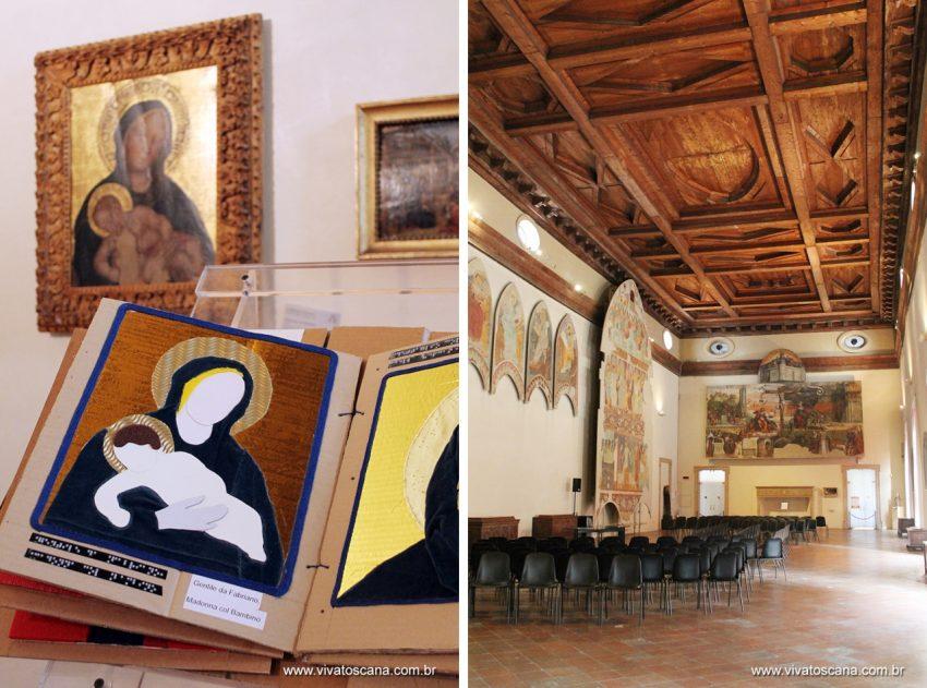 Mais um ponto positivo para Ferrara: ao centro de cada sala da Pinacoteca tinha um livro com a reprodução das obras expostas em relevo e legenda em braile. É preciso somente boa vontade para tornar um museu acessível à todos!