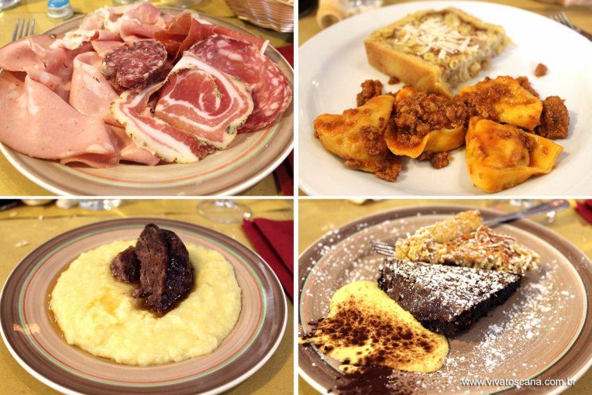 Hostaria Savonarola, Piazza Savonarola 18 - aberto todos os dias no almoço e jantar Decidimos provar o Menu da Tradição (26€/pessoa), com especialidades da cidade: antepasto de salames típicos; 2 Primi: Pasticcio alla Ferrarese (torta salgada recheada de penne e molho branco) e Cappellacci di zucca al ragù (massa recheada de abóbora com molho de carne moída); Secondo: Salamina ao sugo com purê de batata; Doce: Tenerina al cioccolato e Torta de Tagliatelle. Incluso também no preço vinho da casa, água e café. Percebemos que o lugar era muito frequentado por locais, pessoas que provavelmente estavam na sua pausa de almoço do trabalho, o que é garantia de comer bem e pagar o justo! O atendimento era muito bom, muito atenciosos e simpáticos. Adoramos!