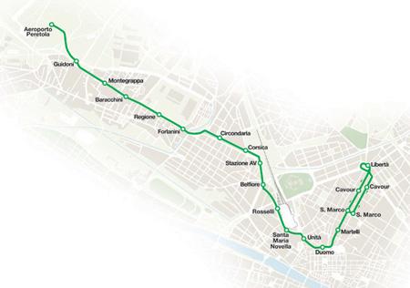 Mapa nova linha 2 da tramvia Firenze em construção