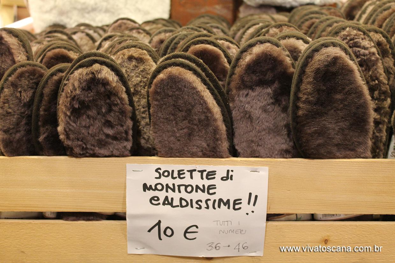 palmilha de lã vendida no mercadinho de Natal da Santa Croce.