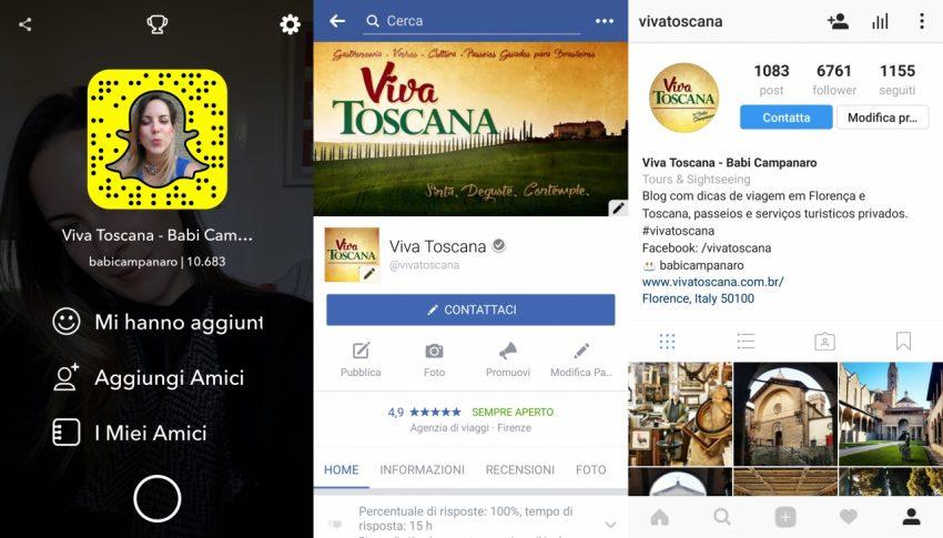 Siga o Viva Toscana também no Snapchat, Facebook e Instagram!